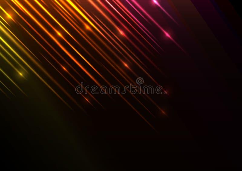 Línea anaranjada fondo del extracto de la ducha de la velocidad ilustración del vector