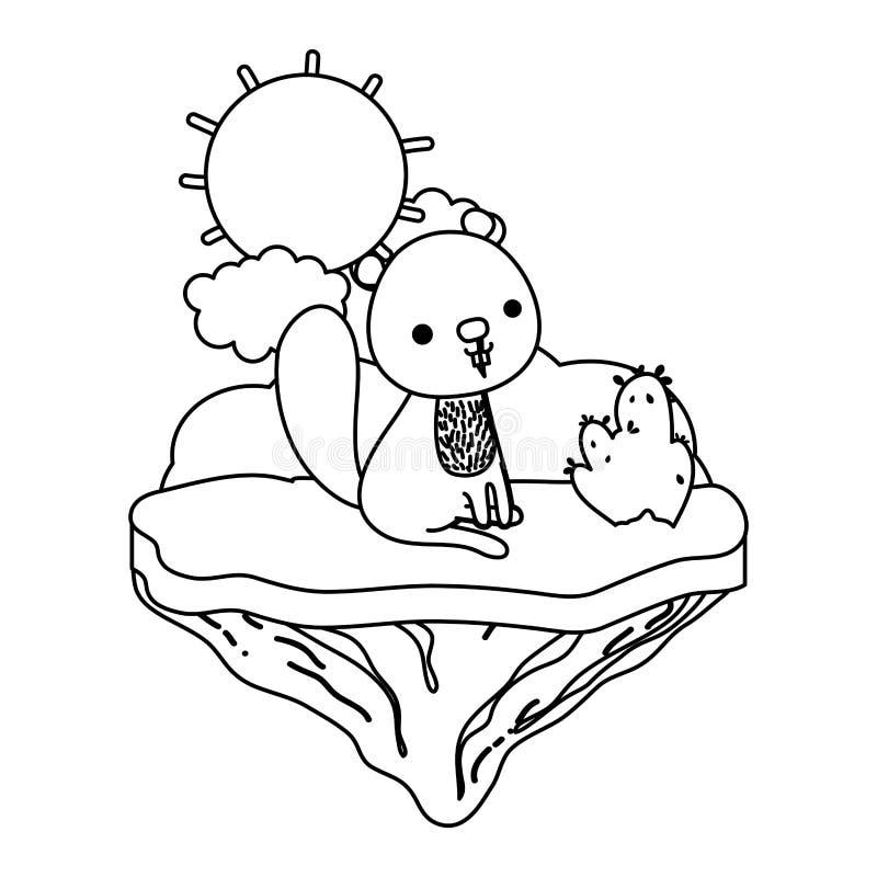 Línea animal agradable del castor en la isla del flotador ilustración del vector