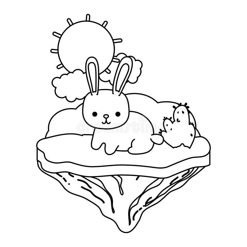 Línea animal feliz del conejo en la isla del flotador ilustración del vector