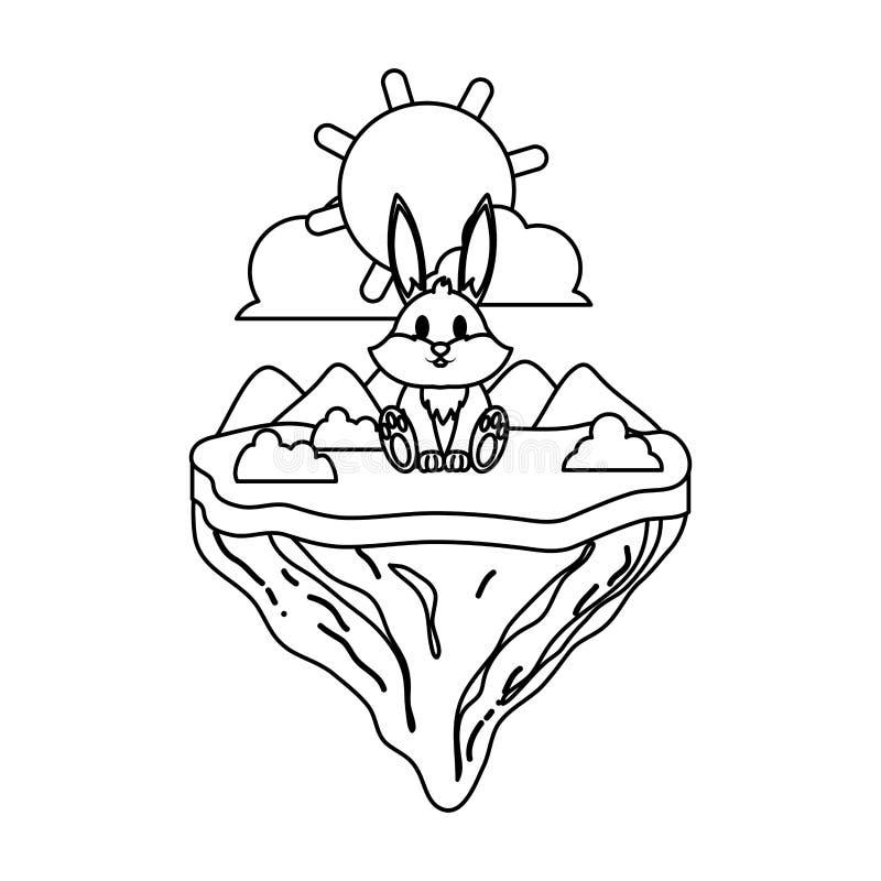 Línea animal lindo del conejo en la isla del flotador stock de ilustración