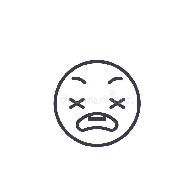 Línea ansiosa vector editable, icono del concepto de Emoji del concepto Ejemplo linear de la emoción del concepto ansioso de Emoj ilustración del vector