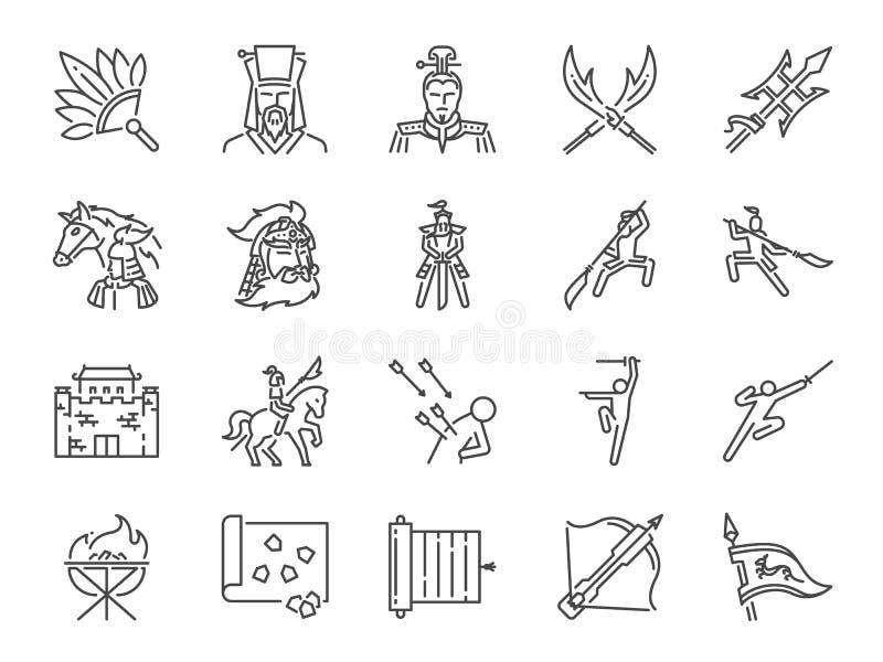 Línea antigua china sistema de la guerra del icono Incluyó los iconos como militares, soldado, batalla, arma, lucha y más stock de ilustración
