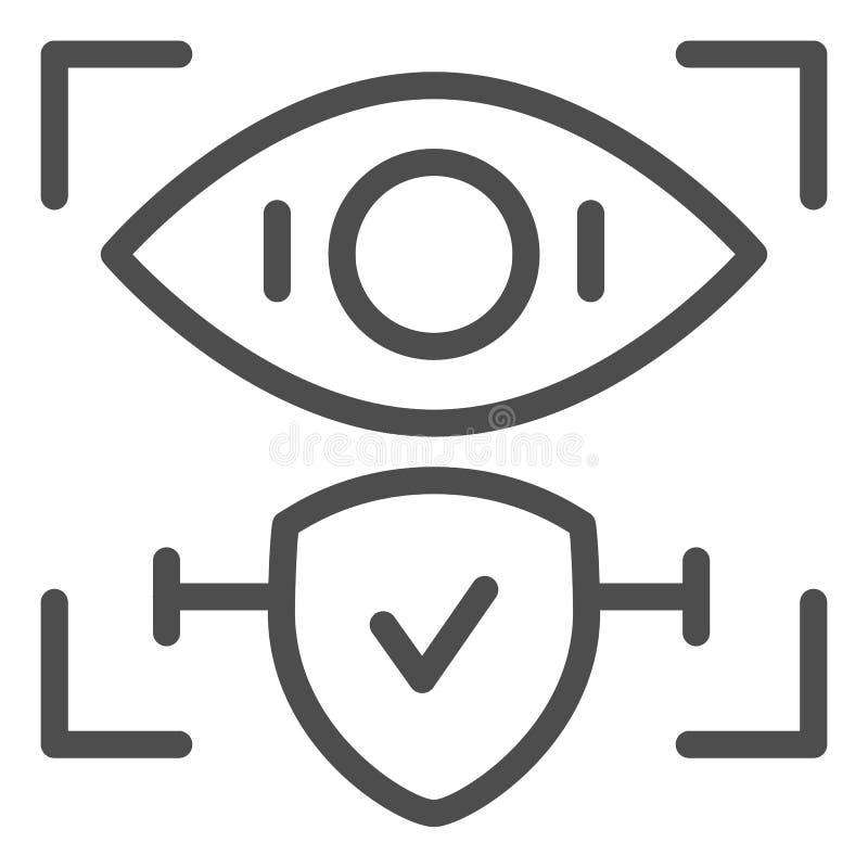 Línea aprobada icono del reconocimiento de la retina Ejemplo del vector de la identificación y del control del ojo aislado en bla ilustración del vector