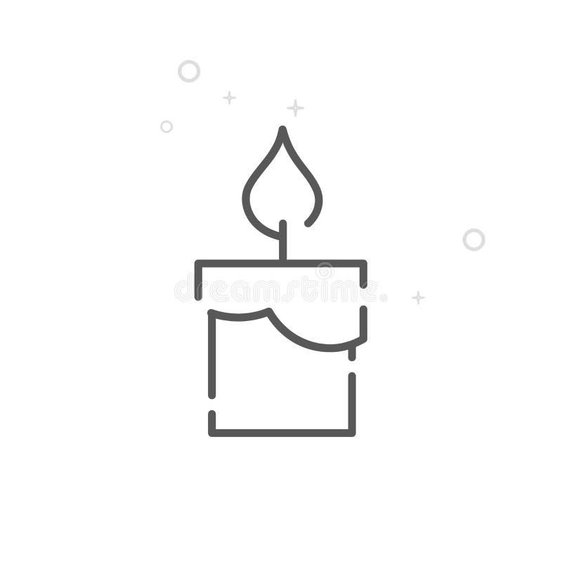 Línea ardiendo icono, símbolo, pictograma, muestra del vector de la vela de la Navidad Fondo geométrico abstracto ligero Movimien stock de ilustración