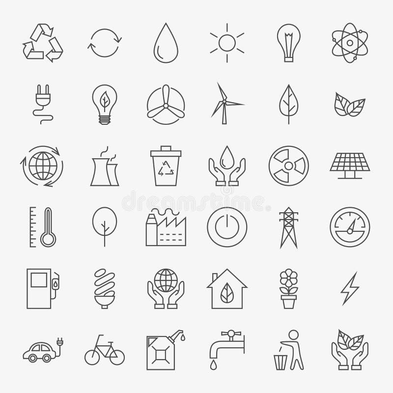 Línea Art Design Icons Big Set de la ecología stock de ilustración