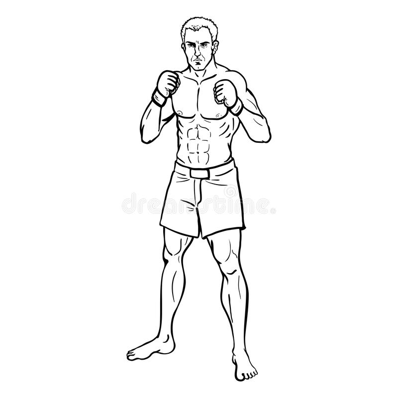 Línea Art Illustration - combatiente muscular del vector del Muttahida Majlis-E-Amal stock de ilustración
