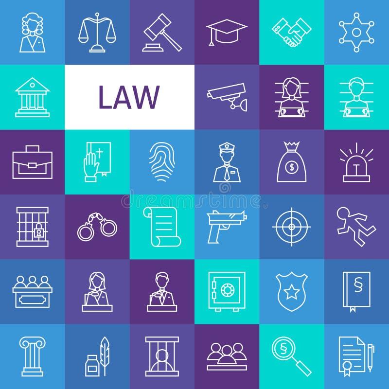 Línea Art Law del vector y justicia Icons Set stock de ilustración