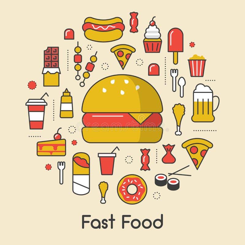 Línea Art Thin Icons Set de los alimentos de preparación rápida con la pizza y Junk Food de la hamburguesa stock de ilustración