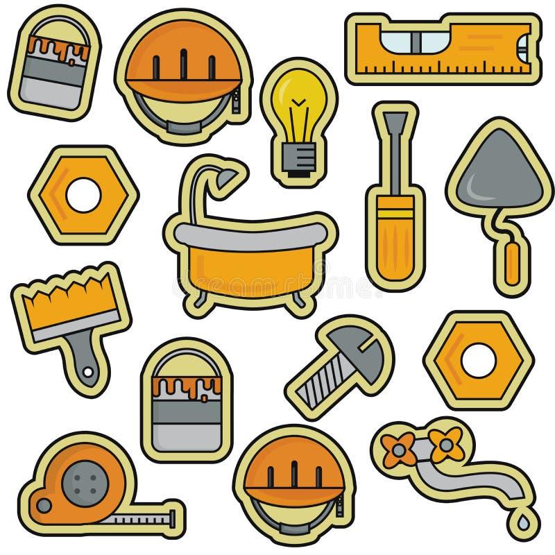 Línea Art Thin Vector Icons Set de la renovación de la reparación de la casa stock de ilustración