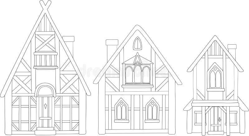 Línea arte con las casas medievales europeas aisladas ilustración del vector