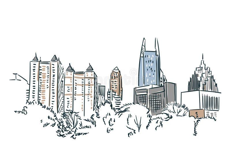 Línea arte de ciudad del vector del bosquejo de Atlanta los E.E.U.U. stock de ilustración