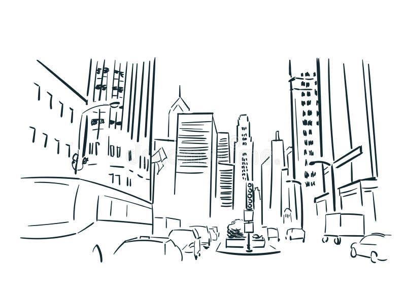 Línea arte de ciudad del vector del bosquejo de Chicago los E.E.U.U. ilustración del vector
