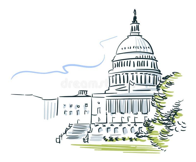 Línea arte de ciudad del vector del bosquejo de los E.E.U.U. Washington ilustración del vector