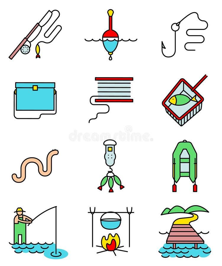 Línea arte de la afición de la pesca los iconos ligeramente y simplemente coloridos fijados ilustración del vector