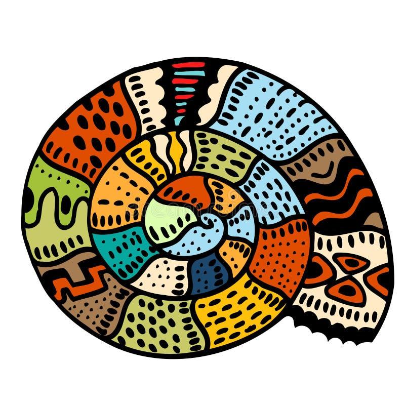 Línea arte de la concha marina stock de ilustración