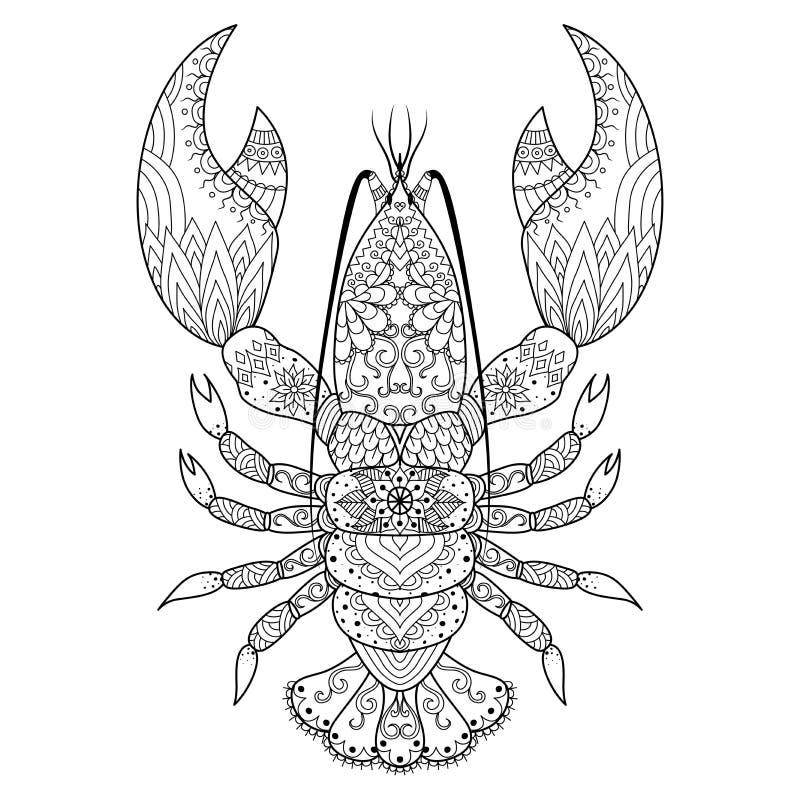 Línea arte de la langosta stock de ilustración