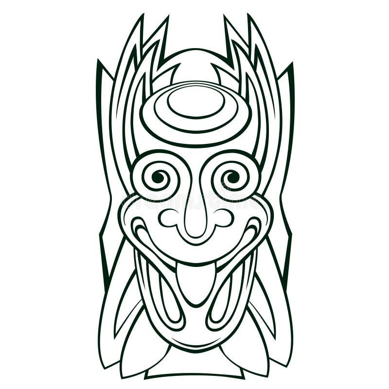 Línea arte de la máscara del ídolo de Tiki libre illustration