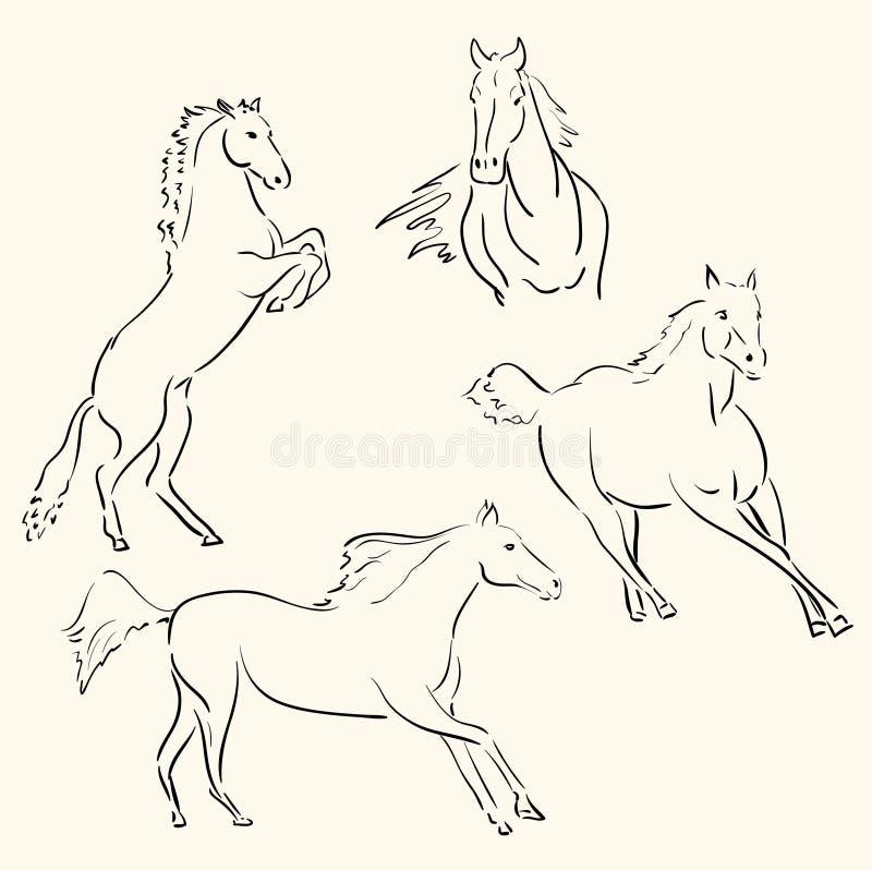 Línea arte de los caballos ilustración del vector