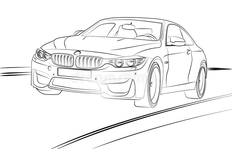 Línea arte del coche stock de ilustración
