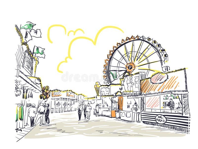 Línea arte del ejemplo del bosquejo del vector de la diversión del parque ilustración del vector