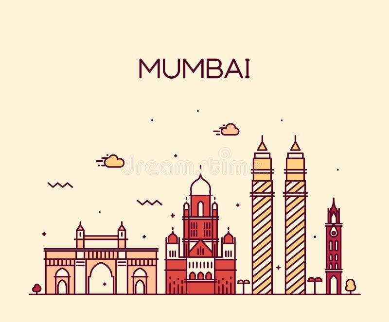 Línea arte del ejemplo del vector del horizonte de la ciudad de Bombay stock de ilustración