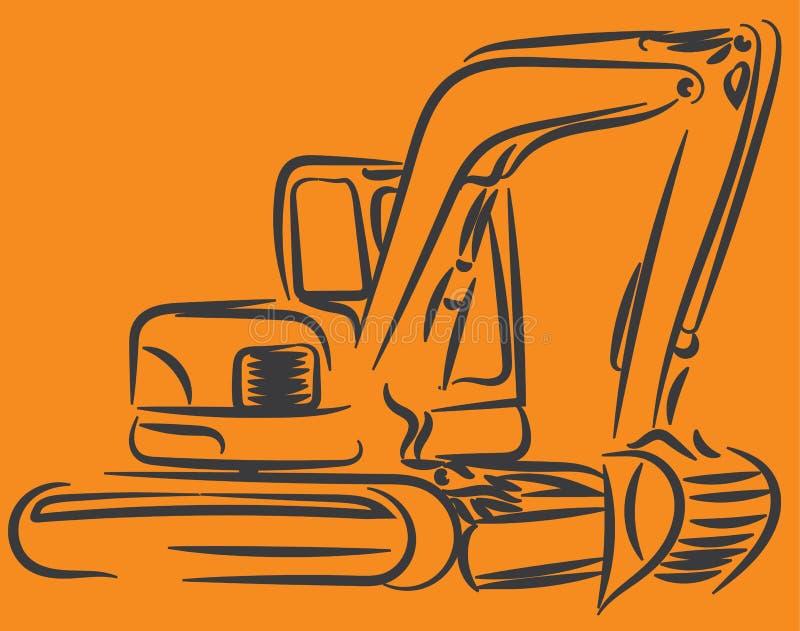 Línea arte del excavador ilustración del vector