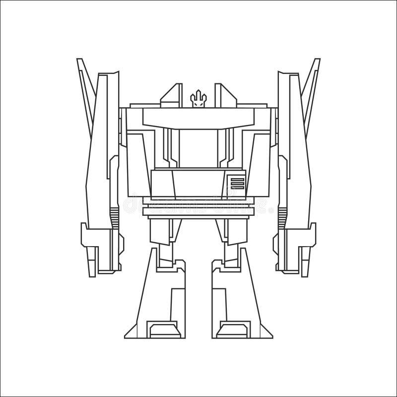 Línea arte del robot stock de ilustración