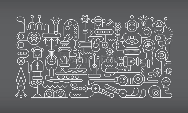 Línea arte del taller del robot stock de ilustración