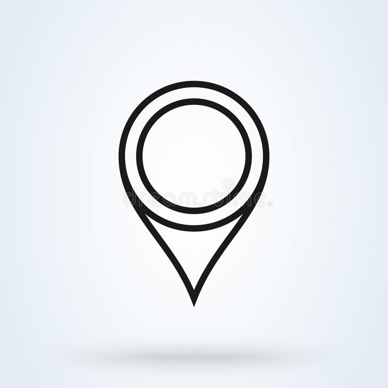 L?nea arte del vector del icono del Pin Muestra de la ubicaci?n aislada en el fondo blanco Mapa de la navegaci?n stock de ilustración