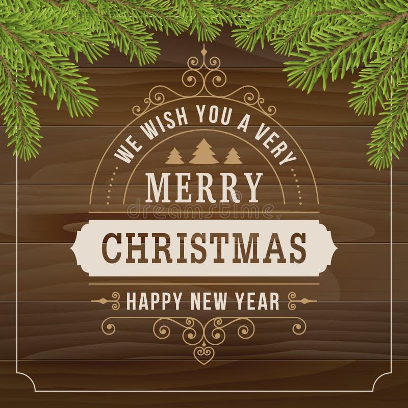 Línea arte del vintage de la Feliz Navidad en el fondo de madera del tablón ilustración del vector