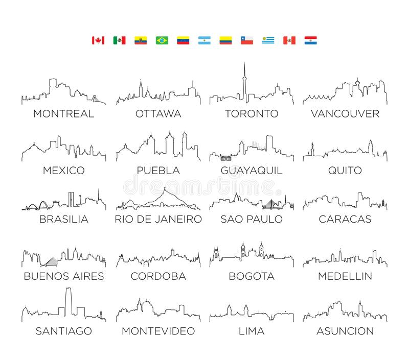 Línea arte, diseño de ciudad del horizonte del norte y de Suramérica del ejemplo del vector libre illustration