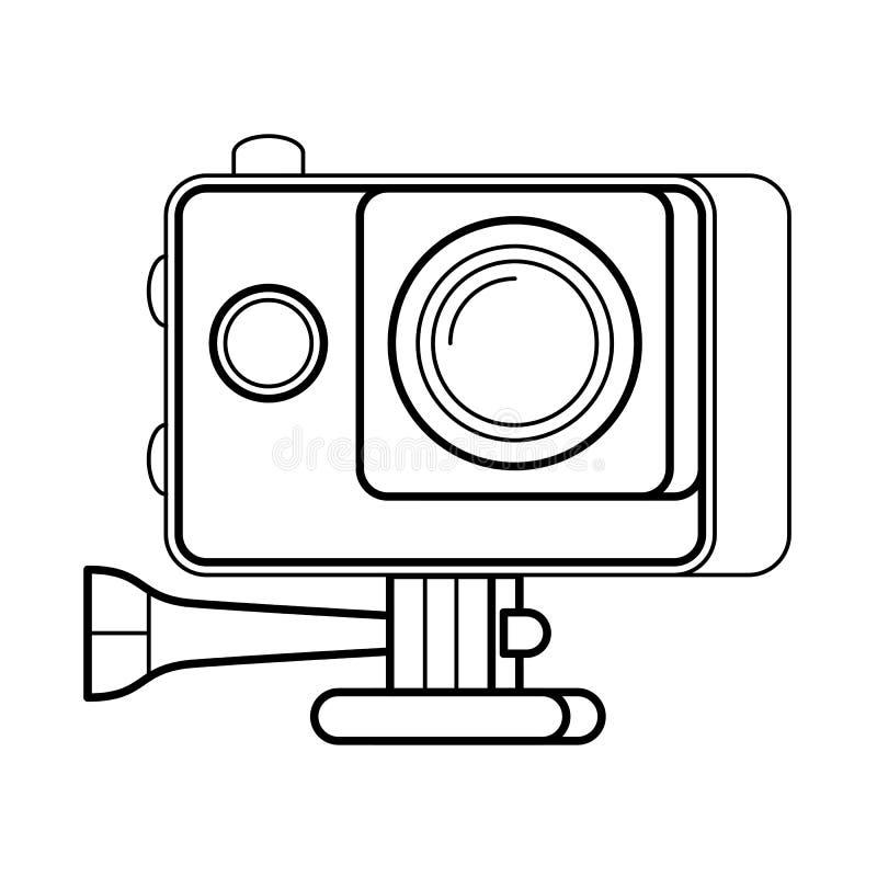 Línea arte, icono simple de la cámara de la acción del artilugio stock de ilustración