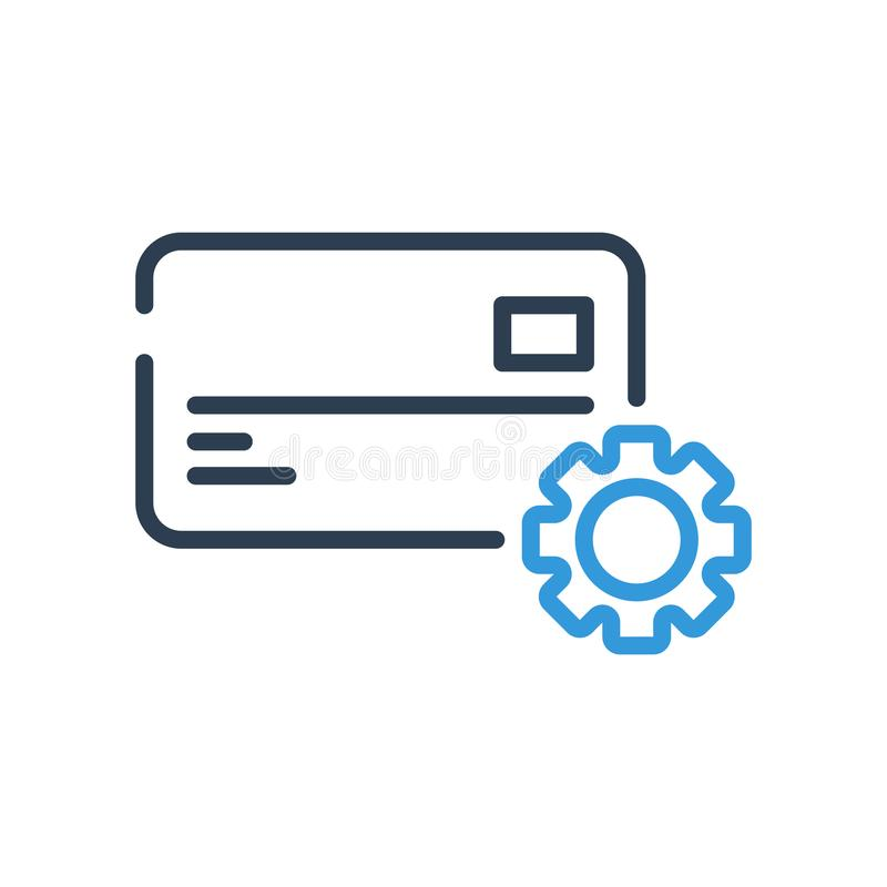 Línea arte Para corregir los ajustes de la tarjeta de crédito Engrana el icono ilustración del vector