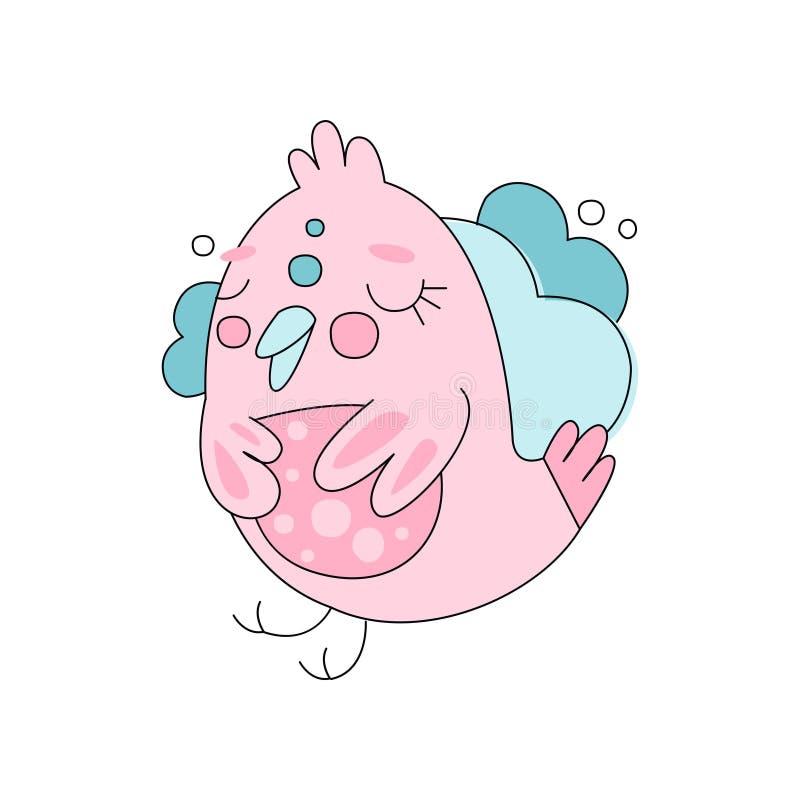 Línea arte plana con el pájaro rosado lindo contra fondo mullido azul de la nube Estilo del dibujo de la mano de los niños Vector stock de ilustración