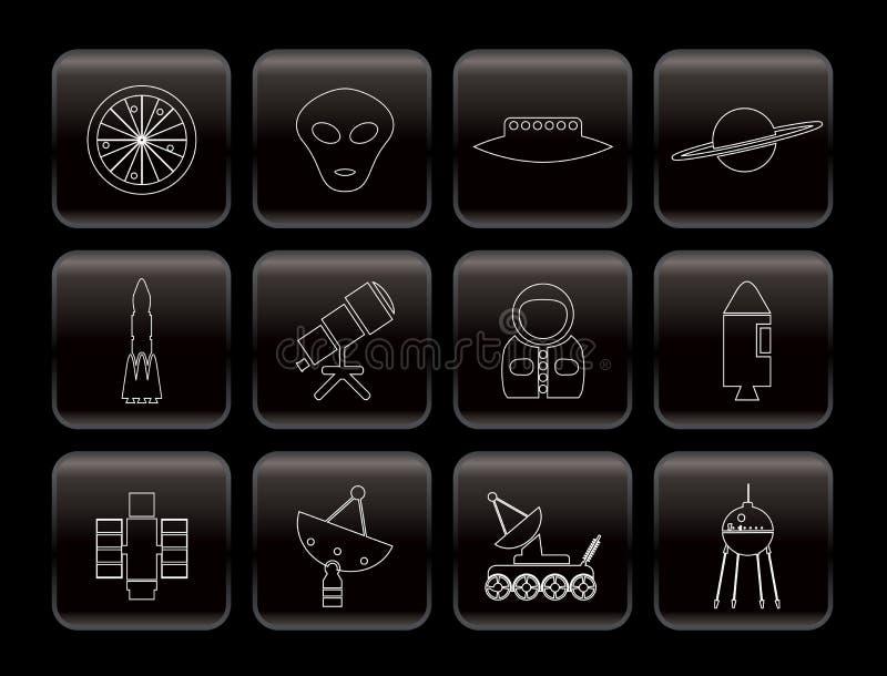 Línea astronáutica e iconos del espacio stock de ilustración
