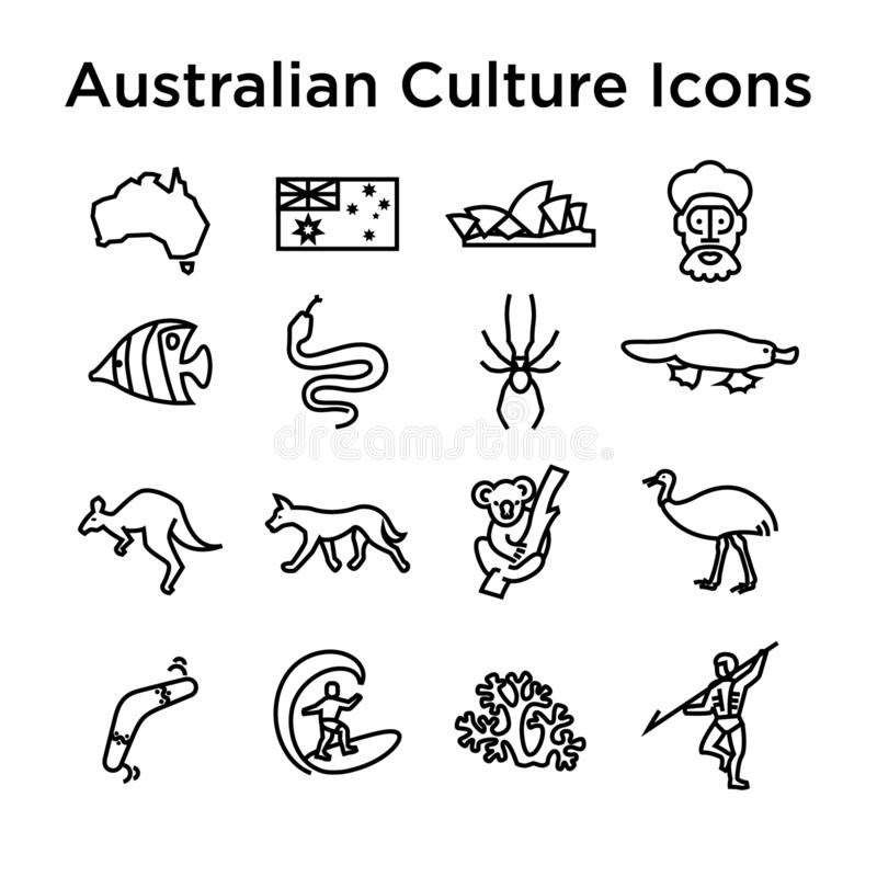 Línea australiana sistema de la cultura del icono Muestras y señales nacionales imagenes de archivo