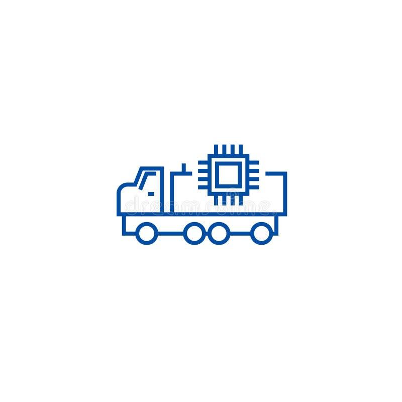 Línea autónoma concepto del coche del icono Símbolo plano del vector del coche autónomo, muestra, ejemplo del esquema libre illustration