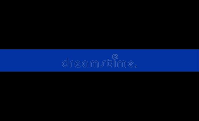 Línea azul fina símbolo de la aplicación de ley de la bandera La policía americana señala por medio de una bandera Símbolo de rec ilustración del vector