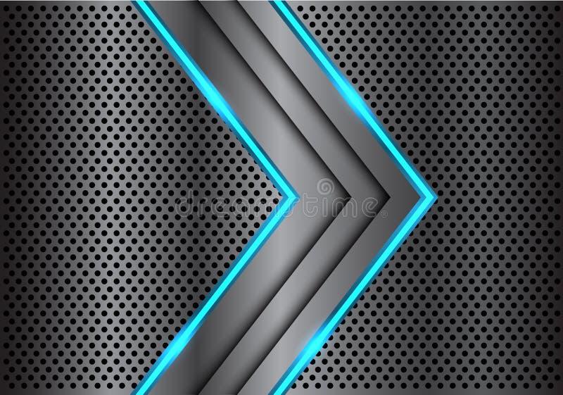 Línea azul gris oscuro abstracta flecha de la luz en vector futurista de lujo moderno del fondo del diseño de la malla del círcul stock de ilustración