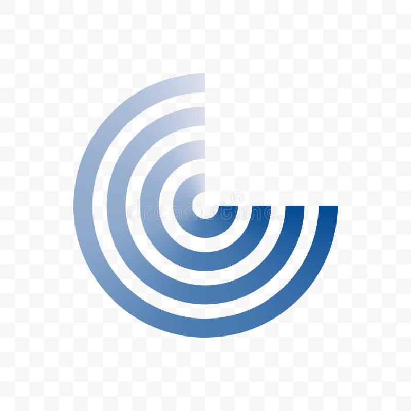 Línea azul icono del círculo del vector ilustración del vector