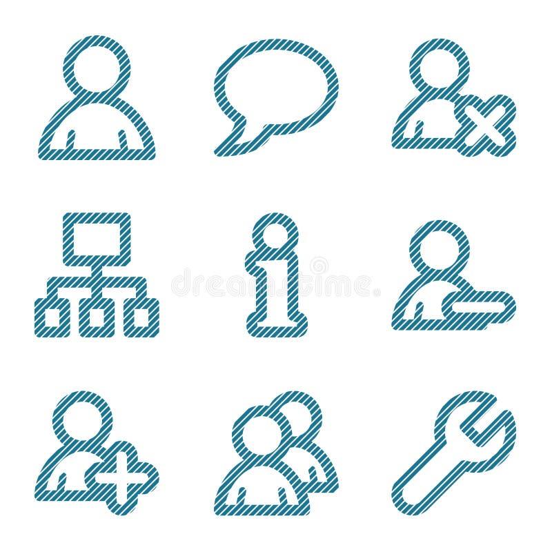 Línea azul iconos de los utilizadores ilustración del vector