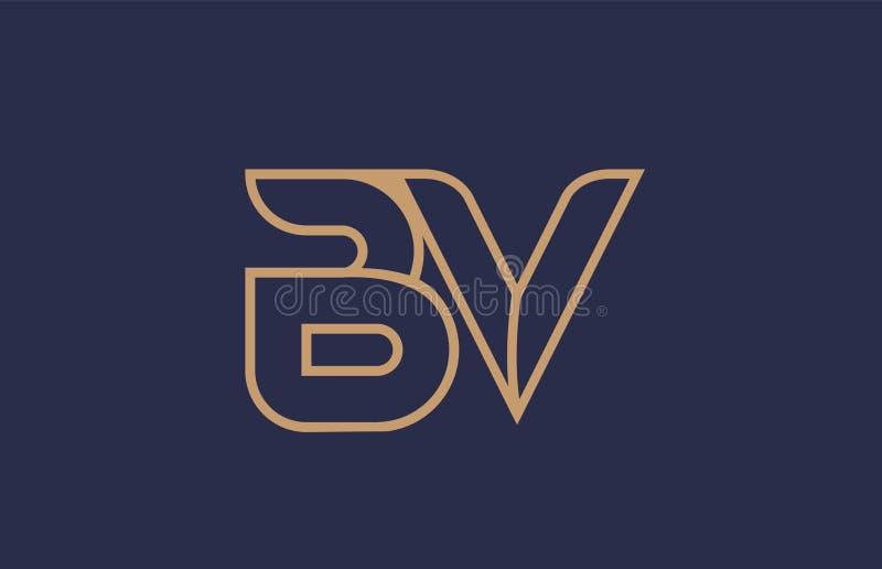 línea azul marrón diseño del icono de la compañía de la combinación del logotipo de la BV B.V. de la letra del alfabeto ilustración del vector