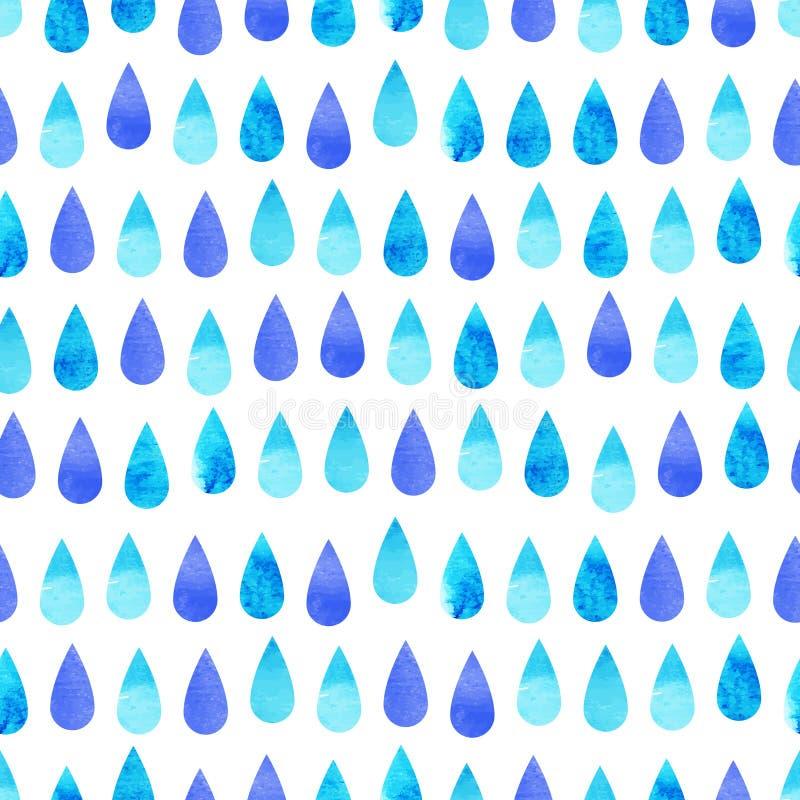Línea azul modelo inconsútil de la lluvia de la acuarela stock de ilustración