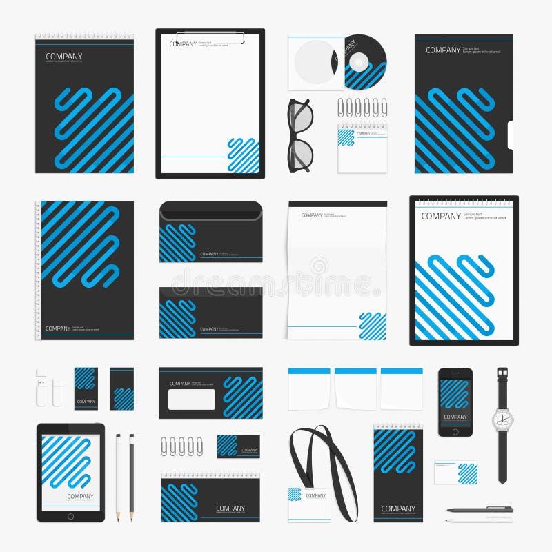 Línea azul plantilla de la identidad corporativa stock de ilustración