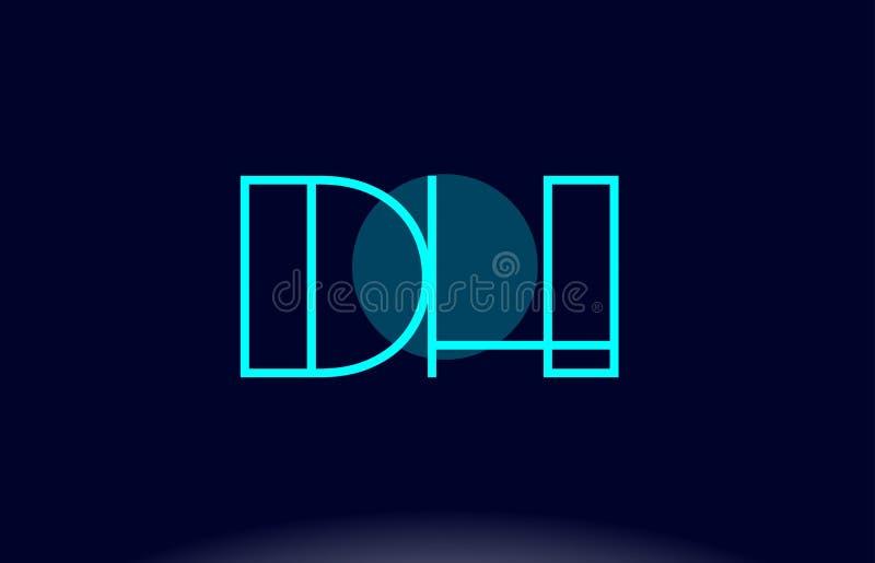línea azul vecto del ADO d h de la plantilla del icono del logotipo de la letra del alfabeto del círculo ilustración del vector