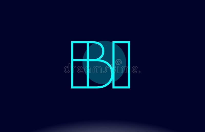 línea azul vecto del BI b i de la plantilla del icono del logotipo de la letra del alfabeto del círculo stock de ilustración