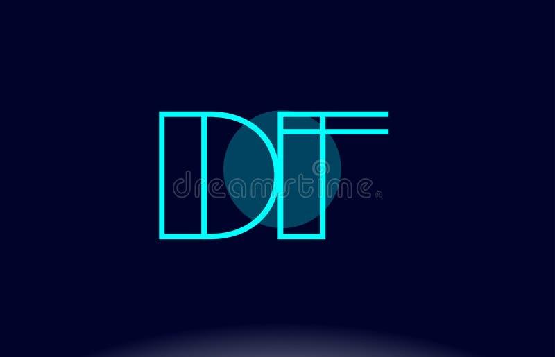 línea azul vecto del df d f de la plantilla del icono del logotipo de la letra del alfabeto del círculo libre illustration