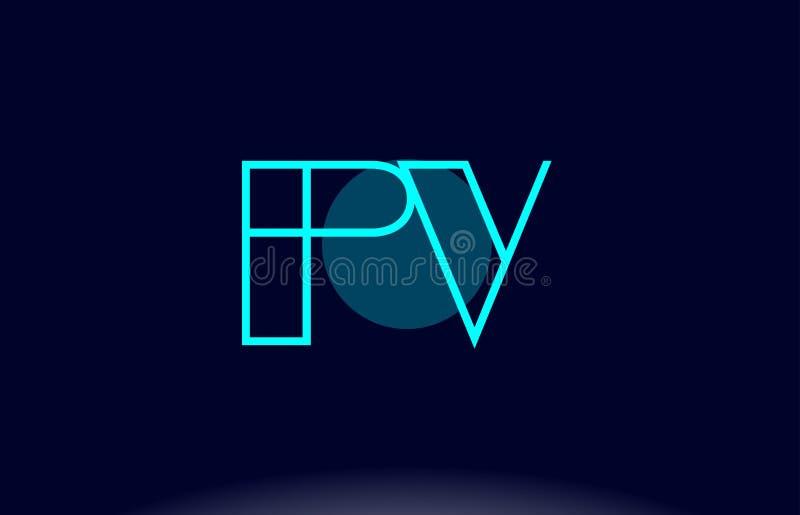 línea azul vecto del picovoltio p v de la plantilla del icono del logotipo de la letra del alfabeto del círculo libre illustration