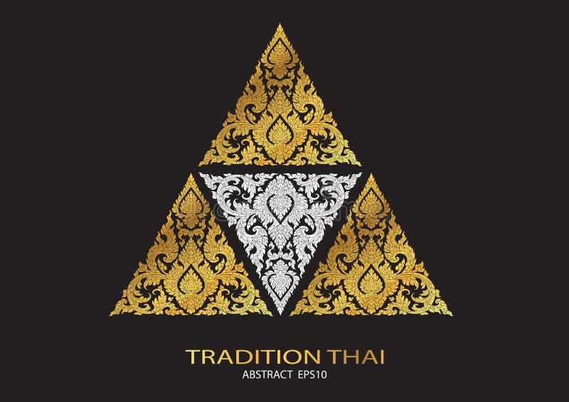 Línea backgro tailandés del extracto de la forma del triángulo del logotipo del modelo de la tradición ilustración del vector