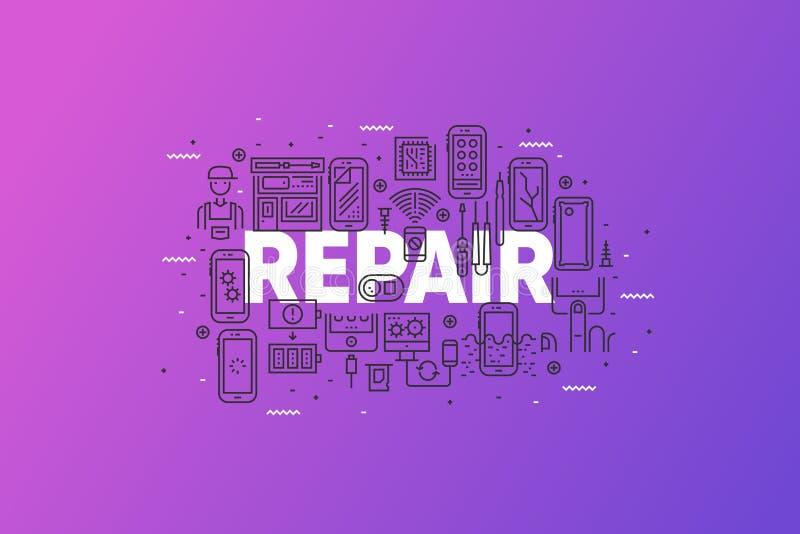 Línea bandera de la reparación y de servicio de Smartphone del concepto fotos de archivo